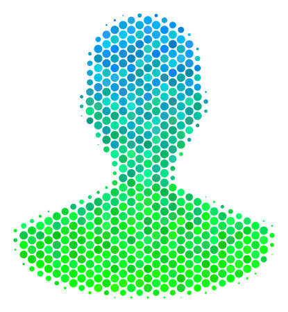 Halftone circle Person pictogram. Pictogram in green and blue color tinges on a white background. Vector concept of person icon constructed of round elements. Illustration