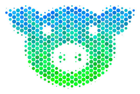 Halftone dot Pig Head icon. Pictogram in green and blue color hues on a white background. Vector concept of pig head icon composed of sphere spots. Vettoriali