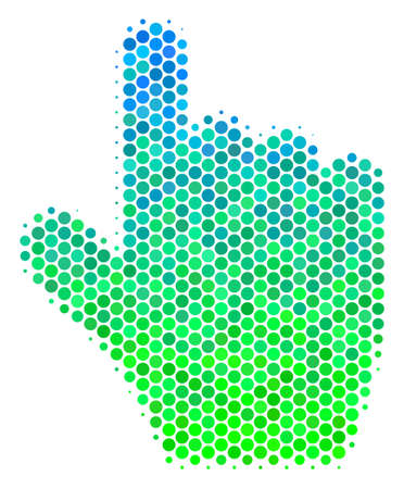 Halftone circle Pointer Finger icon. Pictogram in green and blue color tones on a white background. Vector mosaic of pointer finger icon made of sphere spots. Illustration