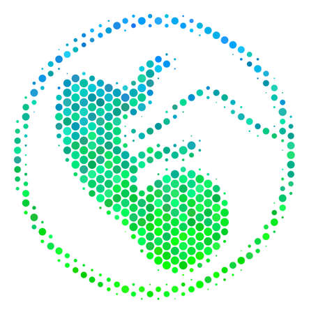 Halftone circle Prenatal icon. Pictogram in green and blue color tinges on a white background. Vector composition of prenatal icon constructed of round spots.
