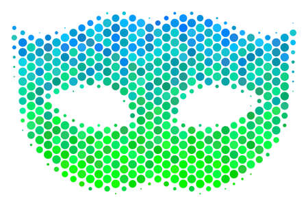 Halftone dot Privacy Mask pictogram. Icon in green and blue color hues on a white background. Vector concept of privacy mask icon designed of circle dots.