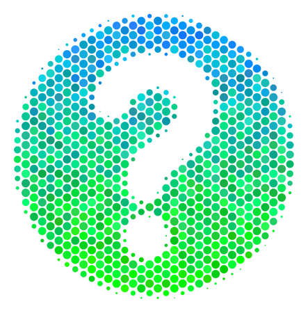 Halftone round spot Query icon. Pictogram in green and blue shades on a white background. Vector concept of query icon constructed of spheric elements. Illustration