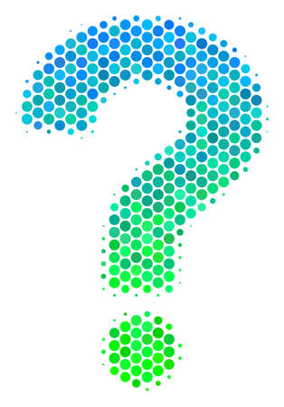 Halftone round spot Question icon. Icon in green and blue color hues on a white background. Vector concept of question icon created of sphere items.