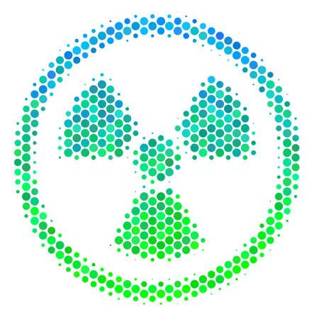 Pictograma radiactivo de punto redondo de semitono. Pictograma en tintes de color verde y azul sobre fondo blanco. Concepto de vector de icono radiactivo creado de puntos redondos.