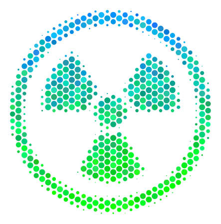 Halftone round spot Radioactive pictogram. Pictogram in green and blue color tints on a white background. Vector concept of radioactive icon created of round spots. Illustration