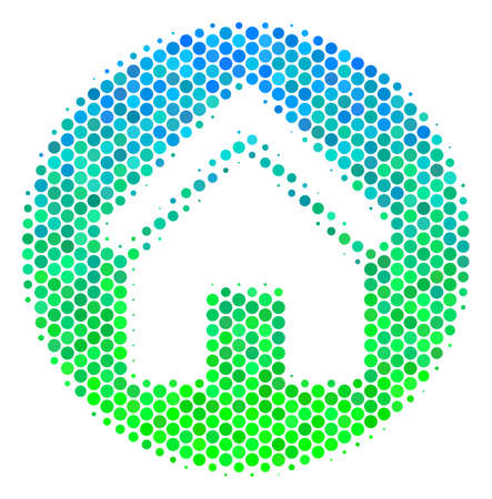 Halftone circle Real Estate icon. Pictogram in green and blue color hues on a white background. Vector concept of real estate icon designed of round dots. Illustration