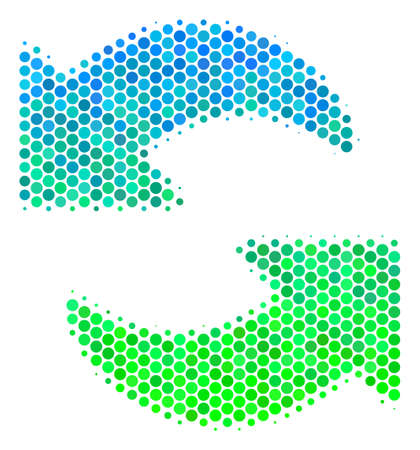 Halftone circle Refresh icon. Icon in green and blue color tones on a white background. Vector collage of refresh icon created of sphere pixels. Illustration