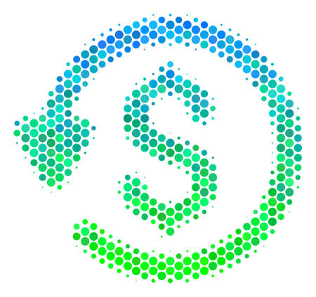 Halftone dot Refund pictogram. Pictogram in green and blue color hues on a white background. Vector composition of refund icon constructed of circle dots. Illustration