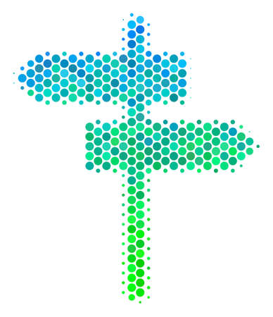 Halftone round spot Road Pointer pictogram. Pictogram in green and blue color tinges on a white background. Vector pattern of road pointer icon constructed of spheric elements.