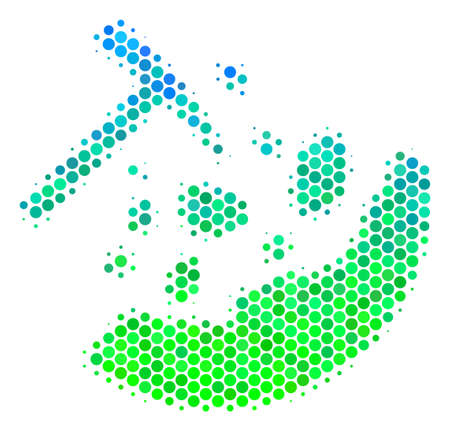 Halftone round spot Rocks Mining icon. Pictogram in green and blue shades on a white background. Vector composition of rocks mining icon done of round spots. 일러스트