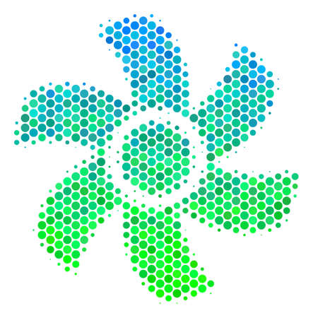 Halftone circle Rotor pictogram. Pictogram in green and blue color tints on a white background. Vector pattern of rotor icon done of circle items.
