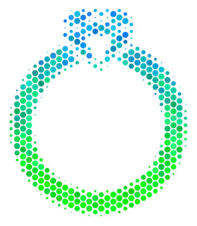 Halftone dot Ruby Ring icon. Pictogram in green and blue color hues on a white background. Vector mosaic of ruby ring icon combined of circle spots.