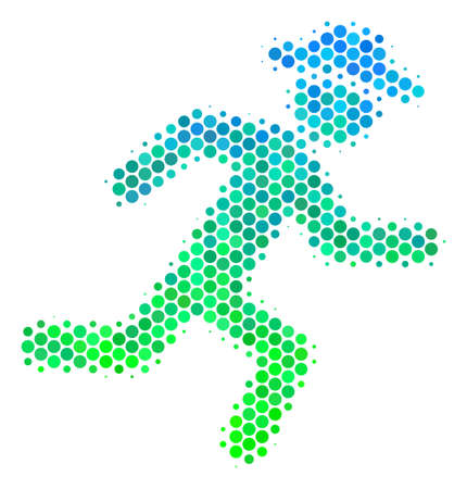 Halftone dot Running Gentleman pictogram. Icon in green and blue color hues on a white background. Vector collage of running gentleman icon combined of circle blots.