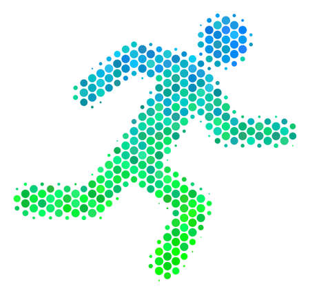 Halftone round spot Running Man icon. Pictogram in green and blue color tones on a white background. Vector mosaic of running man icon composed of round blots.