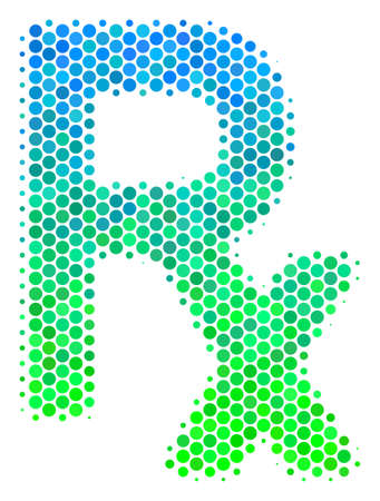 Halftone dot Rx Symbol icon. Pictogram in green and blue color tinges on a white background. Vector mosaic of Rx symbol icon made of round dots.