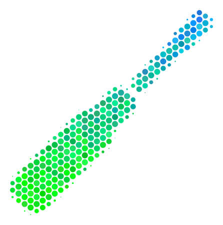 Halftone round spot Screwdriver icon. Icon in green and blue color tinges on a white background. Vector pattern of screwdriver icon done of spheric elements.