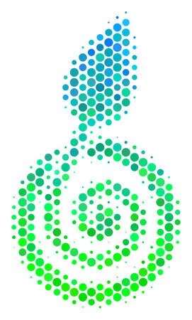Halftone round spot Seed Sprout pictogram. Icon in green and blue color tints on a white background. Vector collage of seed sprout icon composed of sphere pixels. Illustration