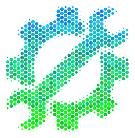 Halftone round spot Service Tools pictogram. Pictogram in green and blue shades on a white background. Vector mosaic of service tools icon created of round spots.
