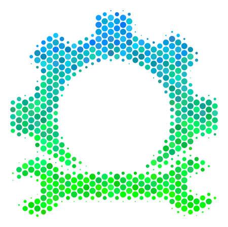 Halftoonpunt Servicetools pictogram. Pictogram in groene en blauwe kleurtinten op een witte achtergrond. Vector concept van service tools pictogram gedaan van cirkel items.