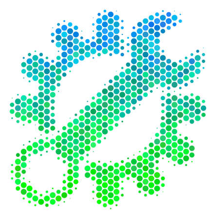 Halftone round spot Service Tools pictogram. Icon in green and blue color hues on a white background. Vector pattern of service tools icon organized of circle spots.