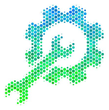 Halftone ronde plek Setup Tools-pictogram. Pictogram in groene en blauwe kleurtonen op een witte achtergrond. Vector concept van setup tools pictogram ontworpen van ronde stippen.