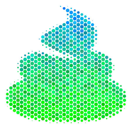 Halftone round spot Shit pictogram. Icon in green and blue color tinges on a white background. Vector pattern of shit icon constructed of round spots. Illustration
