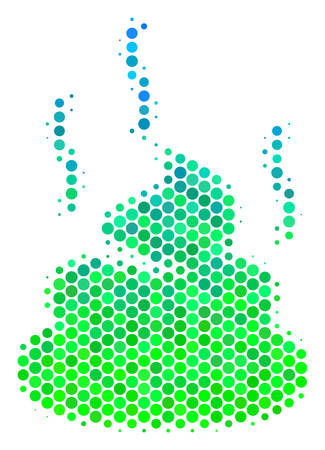 Halftone round spot Shit Smell pictogram. Pictogram in green and blue color tinges on a white background. Vector mosaic of shit smell icon designed of spheric elements.