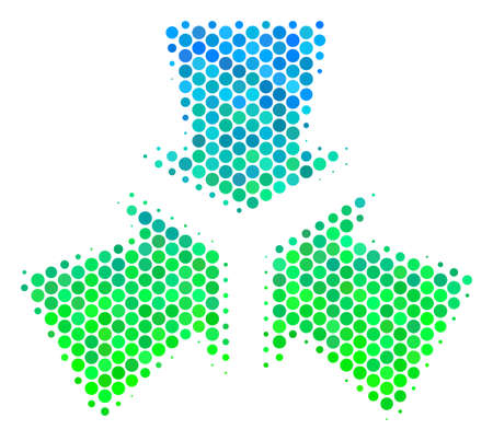 Halftone round spot Shrink Arrows pictogram. Icon in green and blue color tints on a white background. Vector collage of shrink arrows icon designed of sphere pixels.