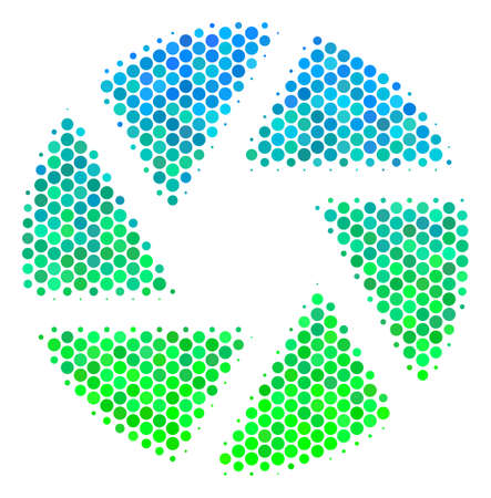 Halftone dot Shutter pictogram. Pictogram in green and blue color tints on a white background. Vector pattern of shutter icon done of circle pixels.