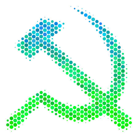 Halftone dot Sickle And Hammer pictogram. Icon in green and blue color tints on a white background. Vector composition of sickle and hammer icon made of spheric blots.