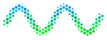 Halftone dot Sinusoid Wave icon. Icon in green and blue shades on a white background. Vector mosaic of sinusoid wave icon designed of sphere blots. Illustration