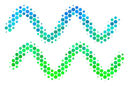 Halftone dot Sinusoid Waves icon. Pictogram in green and blue color tones on a white background. Vector pattern of sinusoid waves icon made of round pixels.