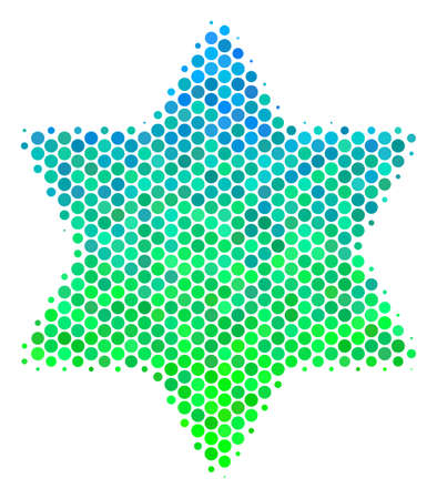 Halftone round spot Six Pointed Star icon. Pictogram in green and blue color tinges on a white background. Vector composition of six pointed star icon constructed of circle items.