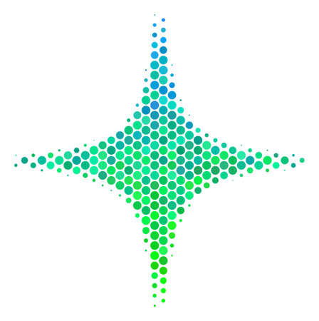 Halftone dot Space Star pictogram. Icon in green and blue color tints on a white background. Vector pattern of space star icon done of sphere blots.
