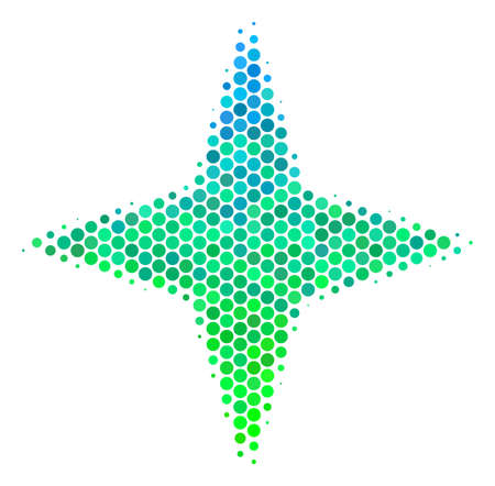 Halftone dot Space Star pictogram. Pictogram in green and blue color tinges on a white background. Vector mosaic of space star icon made of sphere pixels.