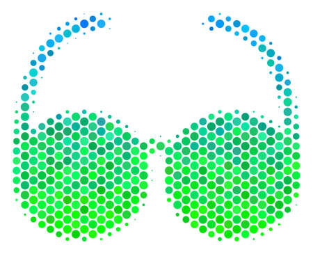 Halftone dot Spectacles icon. Pictogram in green and blue shades on a white background. Vector composition of spectacles icon organized of round elements. Ilustração