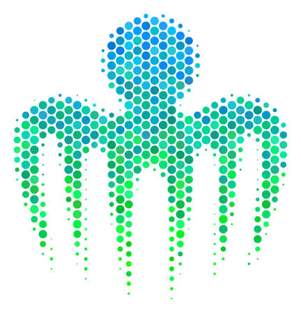 Halftone round spot Spectre Octopus pictogram. Pictogram in green and blue color tones on a white background. Vector concept of spectre octopus icon designed of sphere items.
