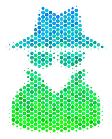 Halftone dot Spy icon. Pictogram in green and blue color tones on a white background. Vector composition of spy icon designed of circle blots.
