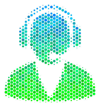 Halftone circle Support Operator icon. Pictogram in green and blue color tints on a white background. Vector mosaic of support operator icon combined of round spots. Illustration