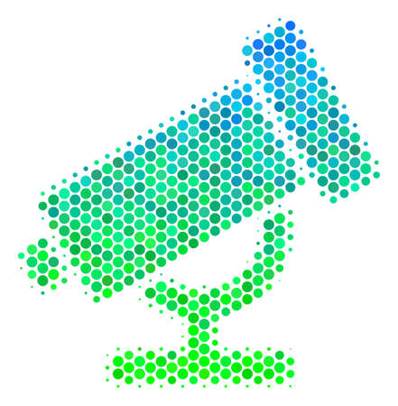 Halftone dot Telescope pictogram. Icon in green and blue color tinges on a white background. Vector pattern of telescope icon constructed of sphere items.