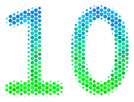 Halftone dot Ten Digits Text icon. Icon in green and blue color tinges on a white background. Vector pattern of ten digits text icon composed of round blots.