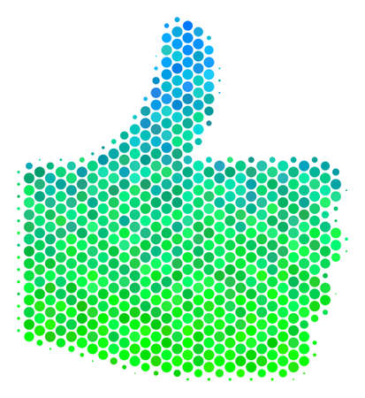 Halftone circle Thumb Up icon. Icon in green and blue color tinges on a white background. Vector mosaic of thumb up icon composed of spheric elements.