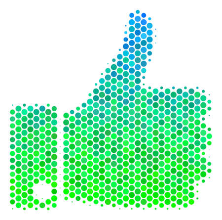 Halftone dot Thumb Up icon. Pictogram in green and blue color tinges on a white background. Vector composition of thumb up icon made of spheric dots.