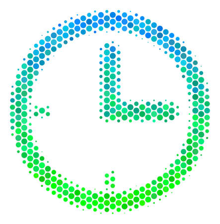 Halftone dot Time pictogram. Icon in green and blue color tinges on a white background. Vector collage of time icon created of circle blots. Illustration