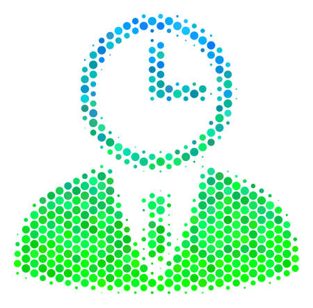 Halftone dot Time Manager pictogram. Icon in green and blue color tones on a white background. Vector concept of time manager icon combined of round items.
