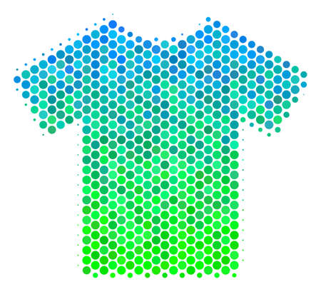 Halftone round spot T-Shirt pictogram. Icon in green and blue color tinges on a white background. Vector mosaic of t-shirt icon done of sphere spots. Illustration