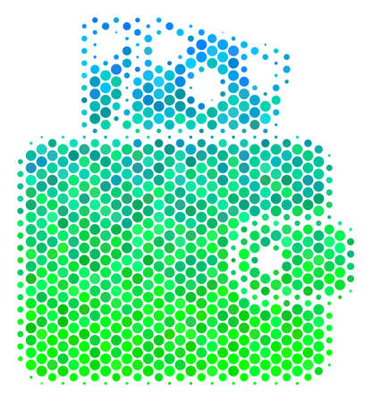 Halftone round spot Wallet pictogram. Pictogram in green and blue color hues on a white background. Vector collage of wallet icon done of spheric blots.