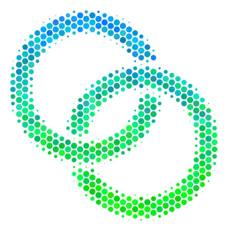 Halftone circle Wedding Rings icon. Icon in green and blue shades on a white background. Vector mosaic of wedding rings icon made of round blots.