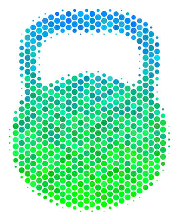 Halftone round spot Weight pictogram. Icon in green and blue color tones on a white background. Vector mosaic of weight icon combined of sphere elements.