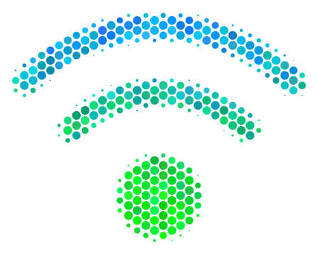 Halftone round spot Wi-Fi pictogram. Pictogram in green and blue shades on a white background. Vector pattern of wi-fi icon created of sphere blots.